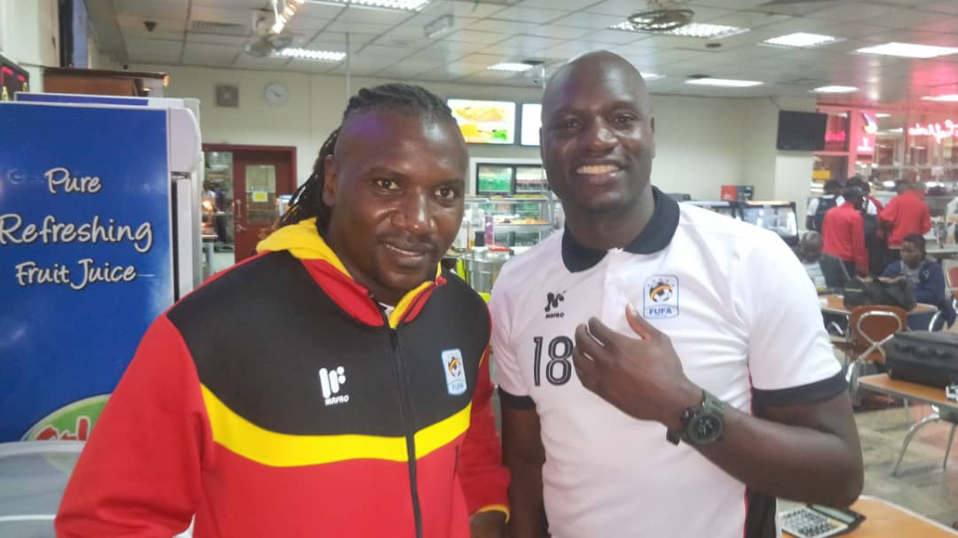 Hassan Wasswa (Left) and Denis Onyango (Right) before departure on Monday morning.