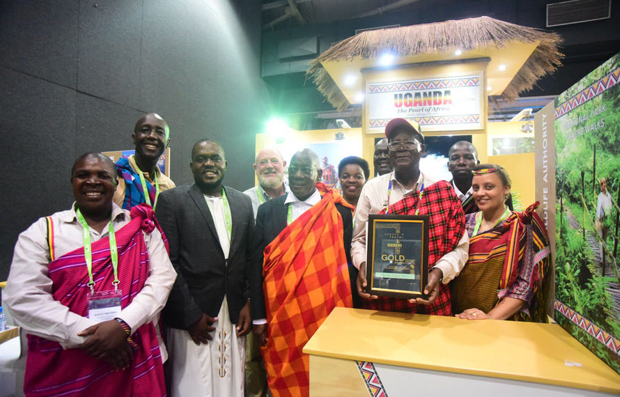 Ugandan delegation at the expo led by Tourism Minister Prof Ephraim Kamuntu. (PHOTO/COURTSEY)