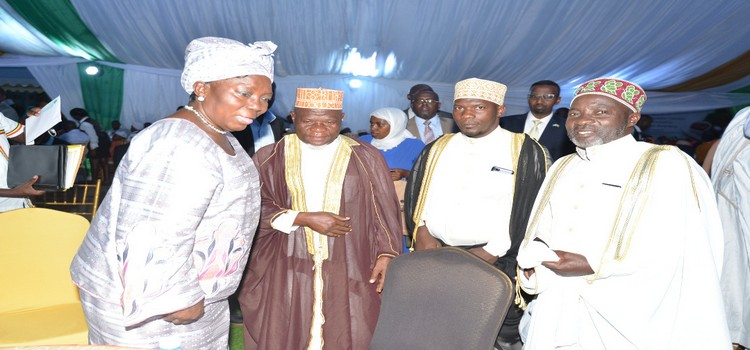 Speaker Rebbecca  Kadaga (L) interacts with Muslims clerics at the dinner hosted at Parliament on friday evening.