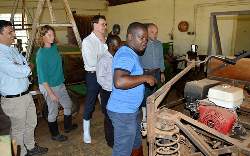 Prof. Noble Banadda (Foreground) shows the delegation from Belgium Embassy around the Mechanical Workshop at MUARIK, Makerere University on 13th May 2019. In a white shirt is First Secretary and Deputy Head of Cooperation at the Embassy of Belgium in Uganda, Mr. Alexandre Brecx
