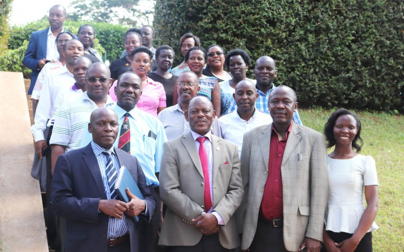 The Vice Chancellor, Prof. Barnabas Nawangwe (2nd Left) and Academic Registrar, Mr. Alfred Masikye Namoah (2nd Right) with the Deputy Registrar (Undergraduate Admissions and Records), Mr. Charles Ssentongo (Left), Principal Public Relations Officer, Ms. Ritah Namisango (Right) and other members of staff from the AR and PR Departments after the interaction on 10th May 2019, Makerere University, Kampala Uganda