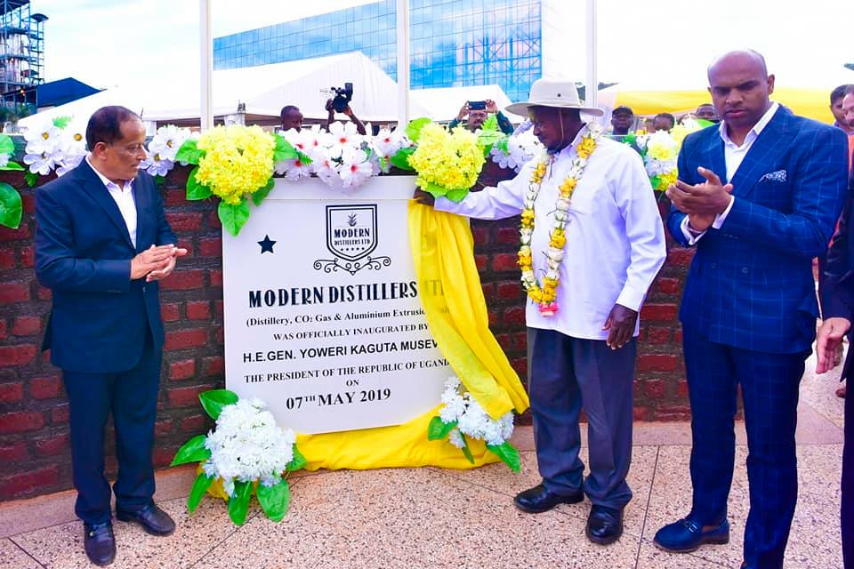 President Museveni commissioning eight different factories