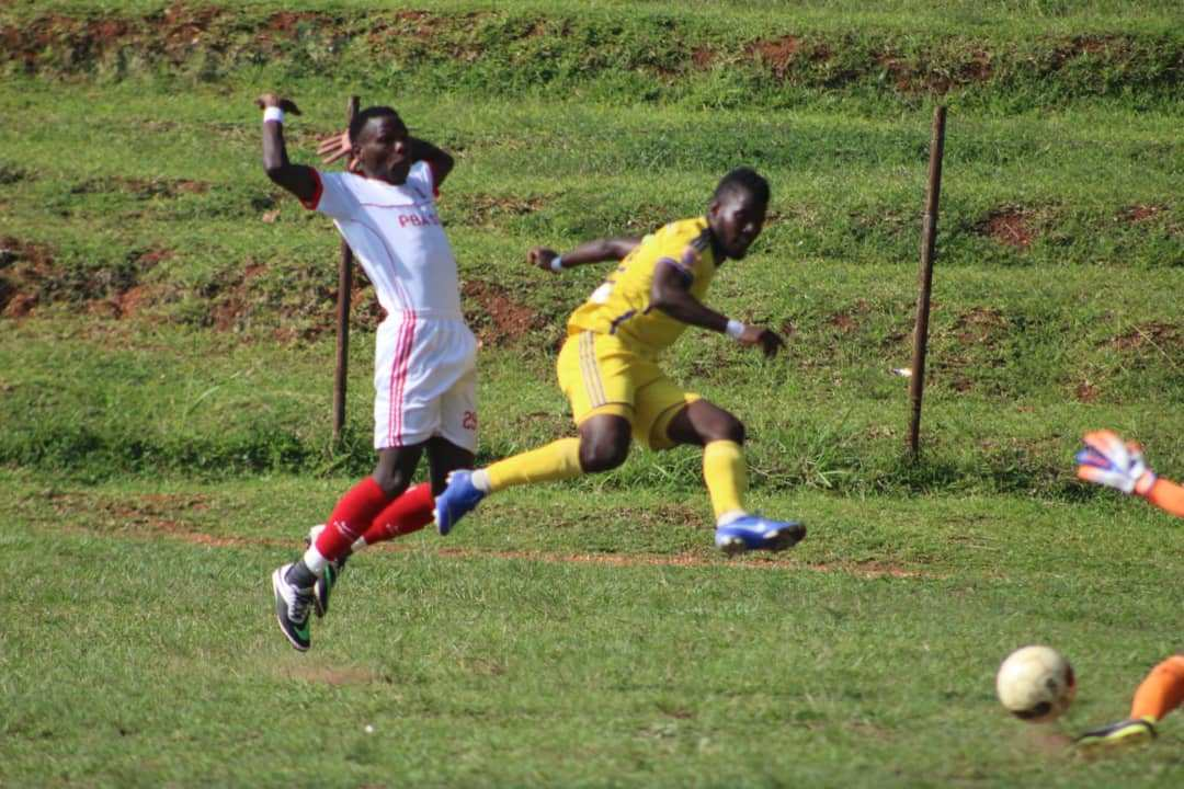 Ssenkatuka (9) scores one of his first goals against Paidha on Saturday.