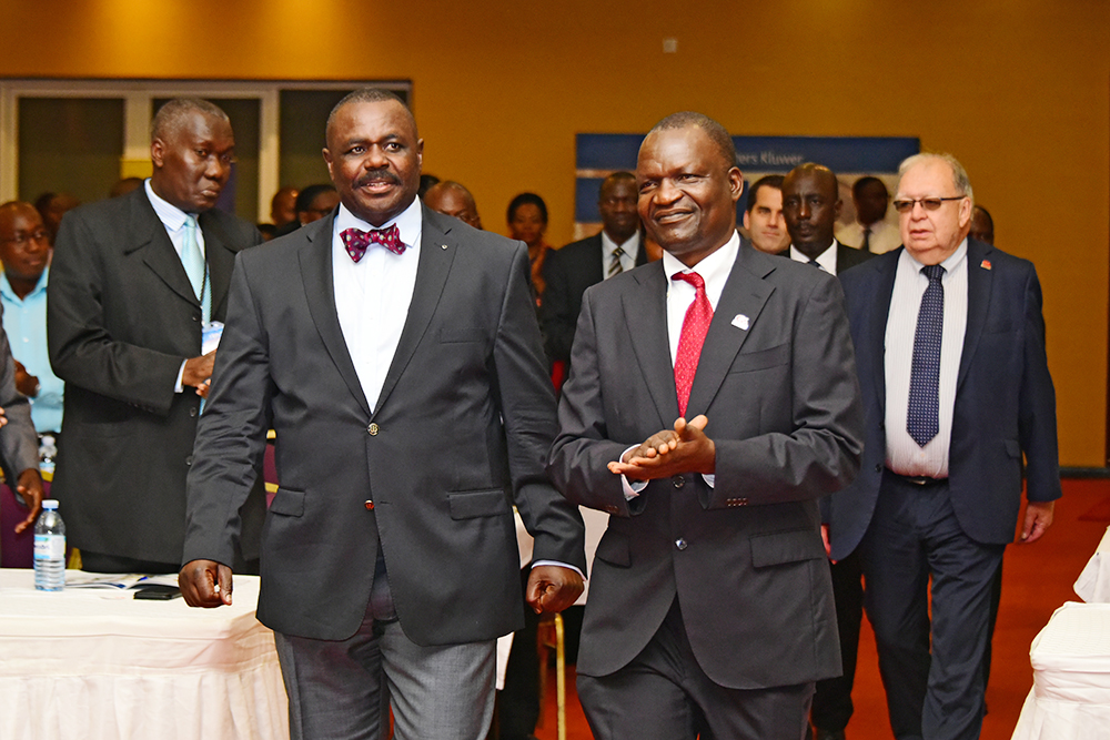 The Deputy Speaker, Jacob Oulanyah (Left), with Walter Okello, the President of The Institute of Internal Auditors of Uganda, at the 14th Annual National Internal Audit Conference at the Commonwealth Speke Resort Munyonyo in Kampala. (PHOTO/PML Daily.)