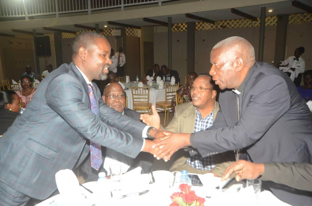 The Chairman, Uganda Episcopal Conference Bishop Joseph Antony Zziwa of Kiyinda-Mityana Diocese, greets SECAM Finance Committee Chairman Ruhinda North MP, Thomas Tayebwa (PHOTO/PML Daily)