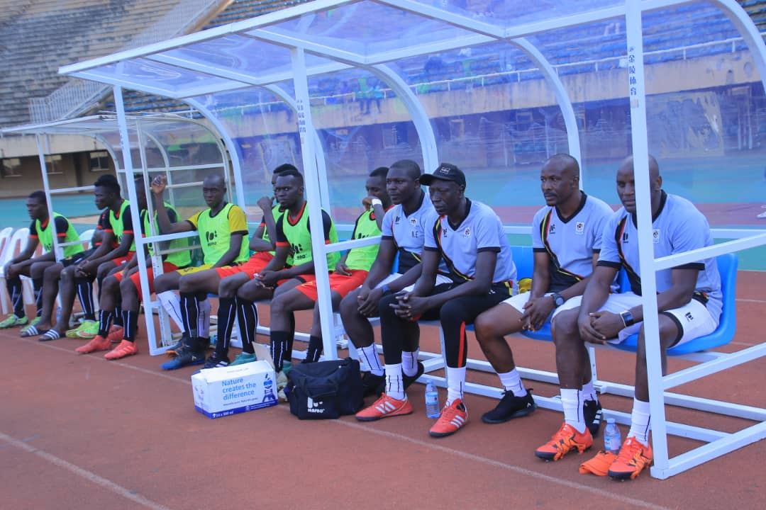 Mubiru (2nd Right) during the build-up game against the Senior Cranes team on Thursday, 17th May. (PHOTOS/FUFA)