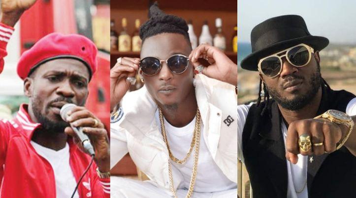 (L-R) Artiste-cum Politician, Bobi Wine, 'Kiboko fire' hitmaker, Khalifa Aganaga and Bebe Cool. (PHOTOMONTAGE/PML Daily)