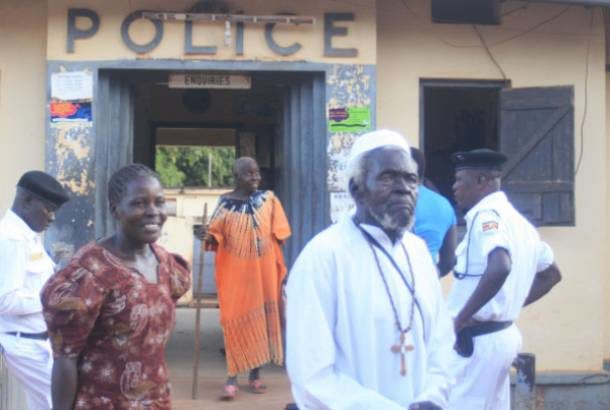 New Jerusalem Tabernacle Church leader Mr Severino Lukoya walks out of Gulu Central Police Station in 2016 after briefly being detained following the death of a child at his temple. (PHOTO/Courtesy)