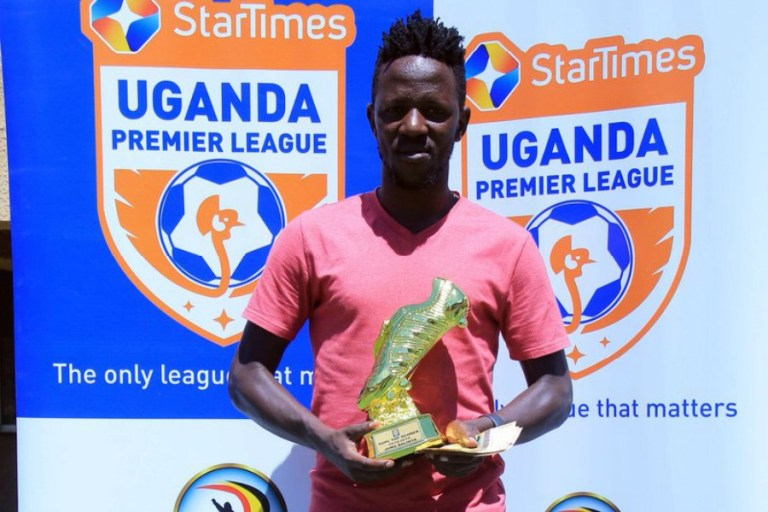 Balinya holds his top scorer's boot on Monday afternoon. (UPL Photos)