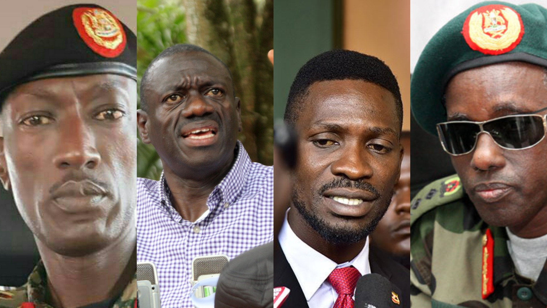 (L-R) CMI boss Brig Gen. Abel Kandiho, Opposition lynchpin, Dr. Kizza Besigye, Kyadondo MP Robert Kyagulanyi (Bobi Wine) and Security Minister Gen. Elly Tumwine. Heads of security and intelligence agencies on Thursday, May 9 met to discuss how to contain rallies by opposition leaders across the country. (PHOTOMONTAGE/PML Daily)
