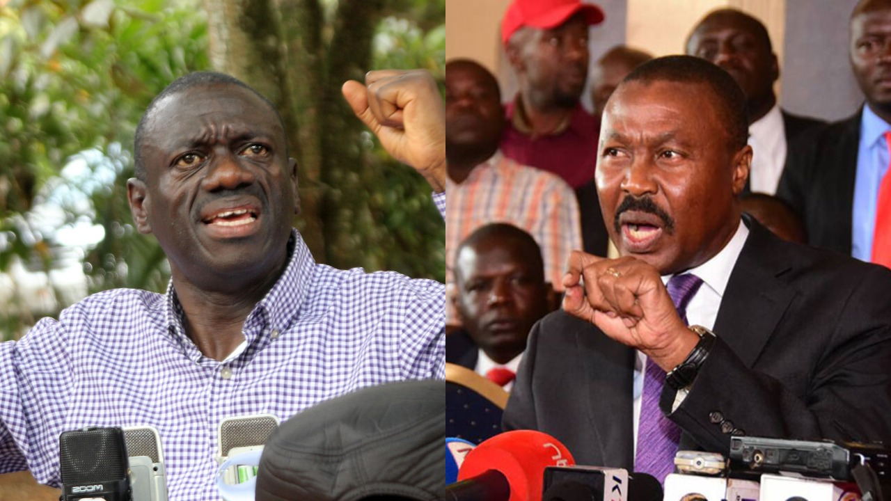 Former FDC Party President, Dr. Kizza Besigye and ANT President Mugisha Muntu. The opposition has takes a swing at the Police for allowing ANT's processions and blocking Besigye and Robert Kyagulanyi's gathering. (PHOTOMONTAGE/File)