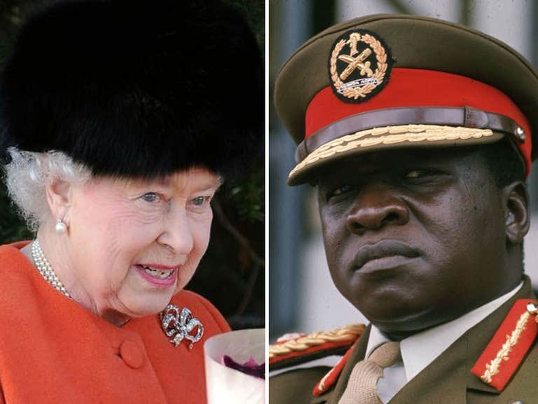 The Queen, pictured here after this year's Christmas Day church service, 'plotted to hit Idi Amin with a sword' if he 'gatecrashed' her Silver Jubilee celebrations (PHOTO/File)