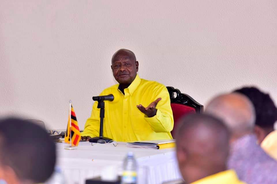 Museveni addressing NRM members during CEC meeting. (PHOTO/File)