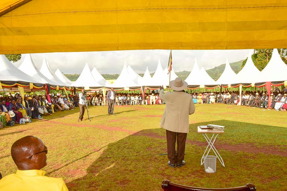 President Museveni addressing residents at Tuban Parish in Kapchorwa District