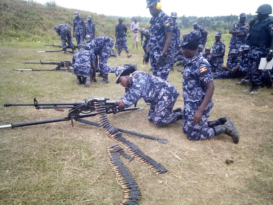Police officers being assessed at Kabalye Police Training School