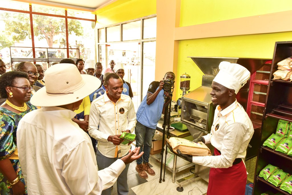 President Museveni officially opened the Inspire Africa complex in Gulu town, which among others has a coffee shop, salons, supermarket, washing bay, and other projects solely run by young people who are supported by the Office of the Prime Minister (PHOTO/PPU)