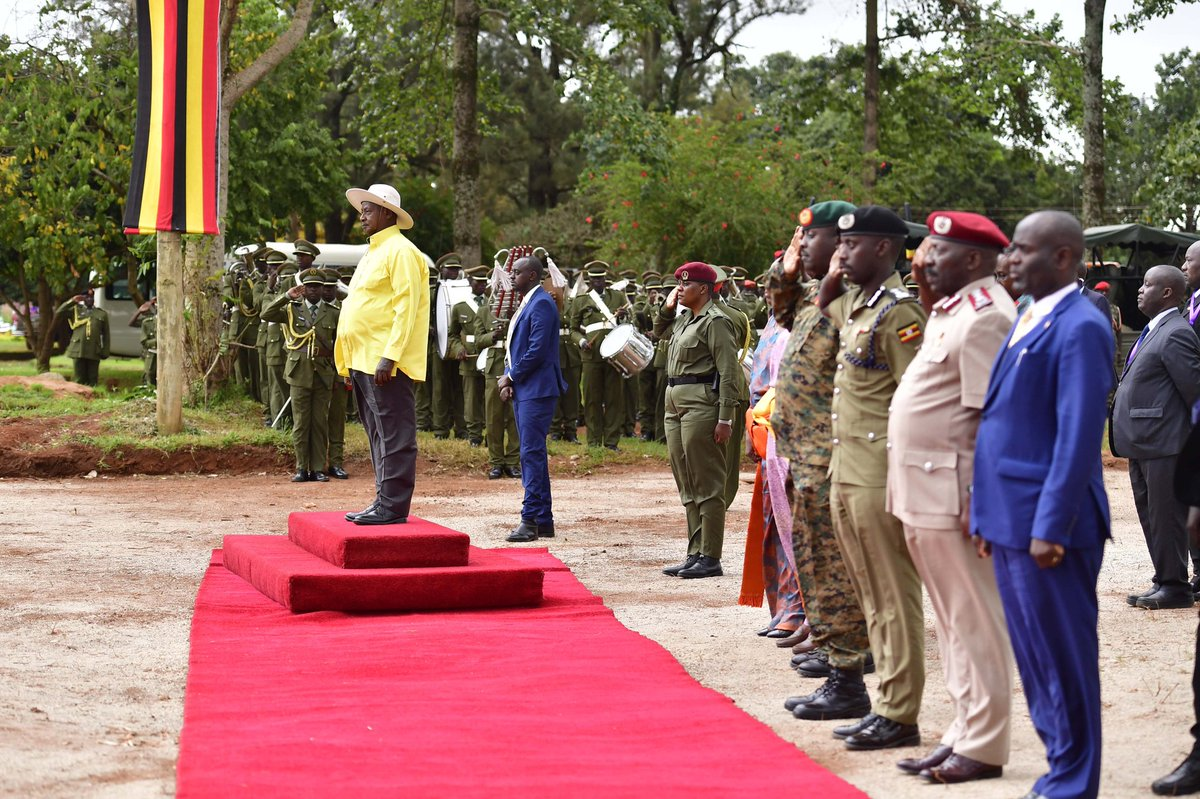 President Museveni joined by other senior officers as the UPDF brass band leads the procession at the Heroes Day celebrations  on June 9 in Kasanje, Wakiso District. (PHOTO/PPU)
