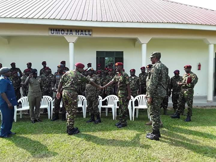 Maj. Gen. James Birungi assuming the SFC office from Maj. Gen Nabasa rrcently (PHOTO/File)