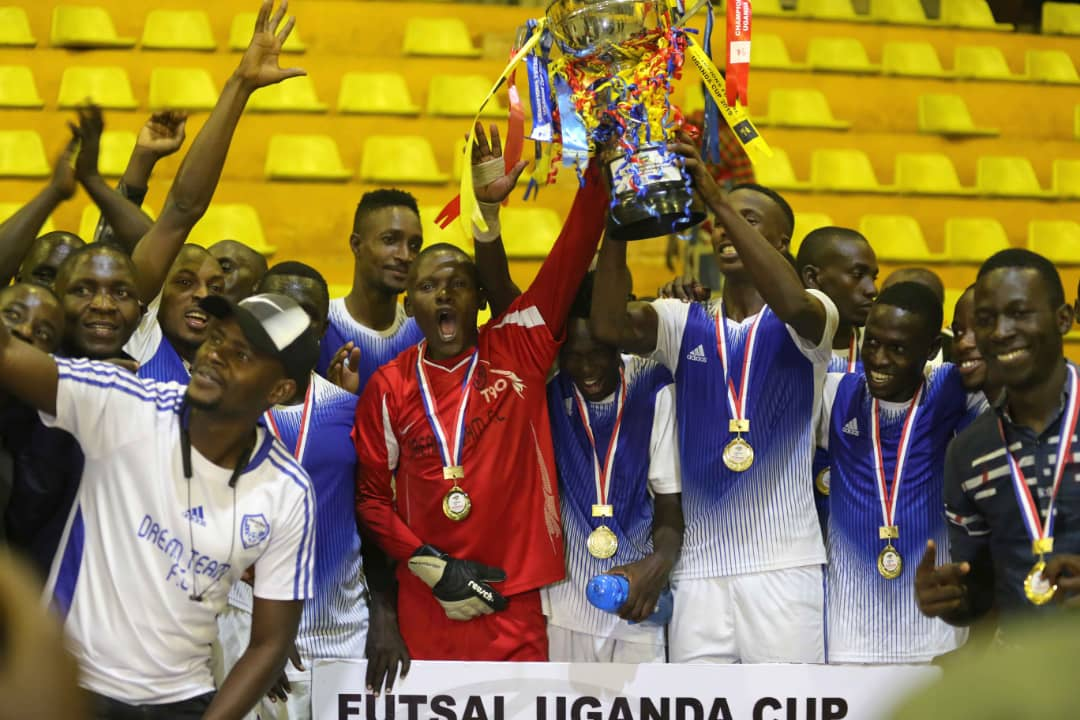 Dream players celebrate after winning the Futsal Uganda Cup on Thursray. (PHOTOS/FUTSAL MEDIA)