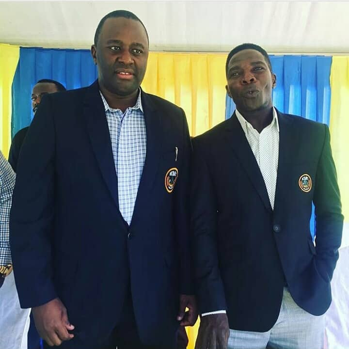 Mayanja (Right) poses for a photo after signing with KMC FC. (PHOTOS/AGENCIES)