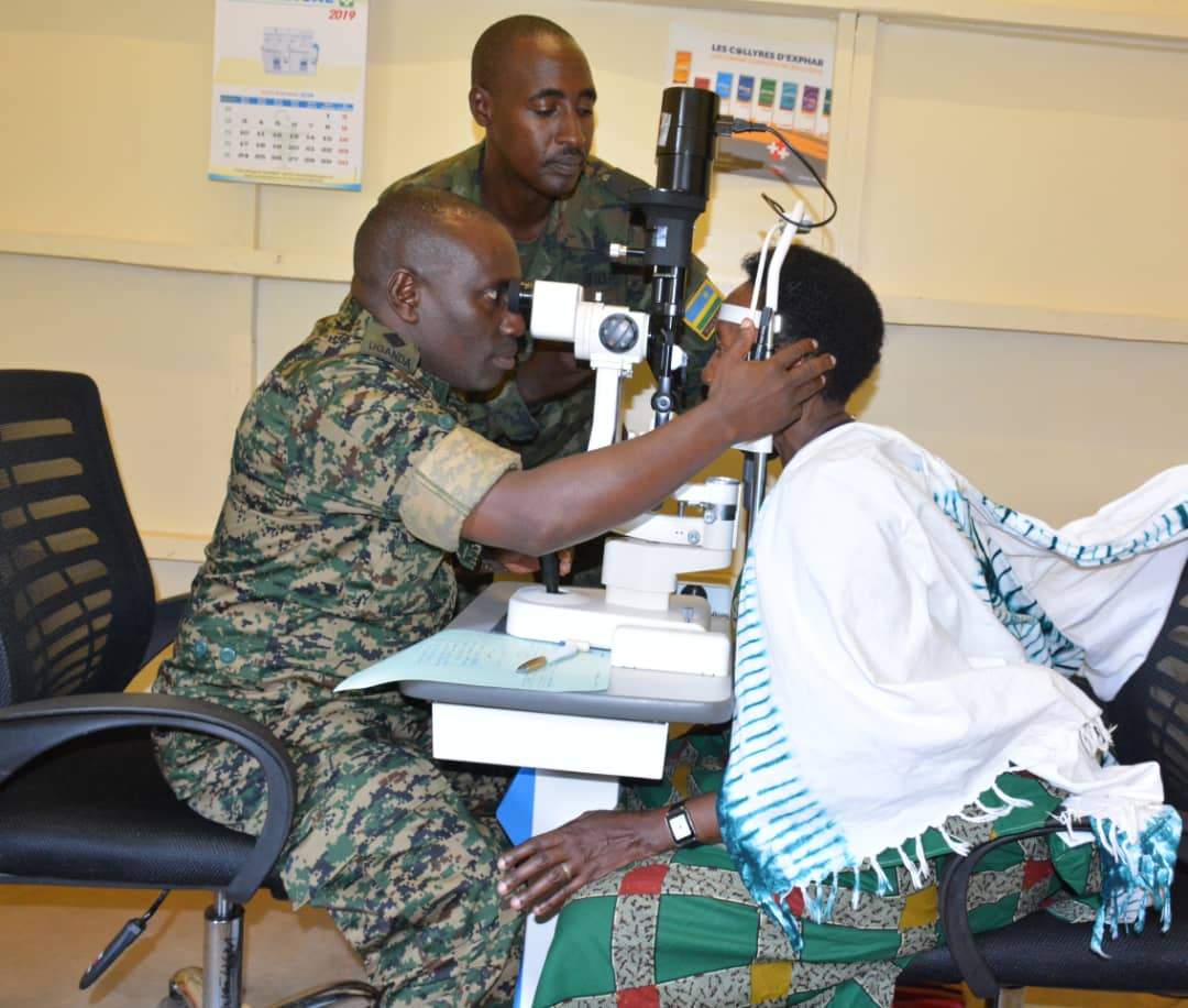UPDF medical teams, are operating at Nyamata District Hospital and offering general medicine, Ear-Nose-Throat surgery, dental and eye treatment, anaethesia, orthopaedrics, general surgery, and gynaecology. (PHOTO/UPDF)