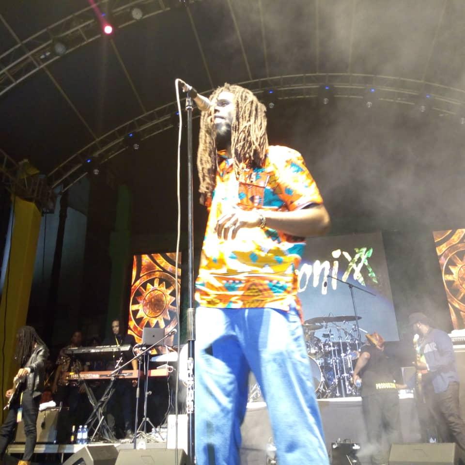 Jamaican reggae artiste, Chronnix performs his hits on stage at Sheraton Gardens on Saturday June 29. (PHOTO/Abraham Mutalyebwa )