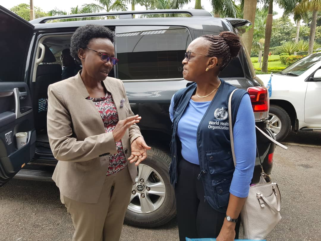 The WHO Regional Director for Africa, Moeti Tshidi, is greeted by Dr Jane Ruth Aceng, the Minister of Health of Uganda, Wednesday morning. (PHOTO/WHO)