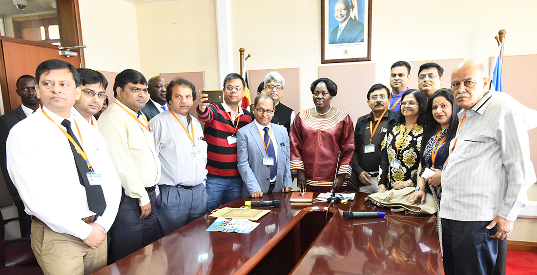 The medical mission team from the Rotary Club of Ranchi, India, with the Speaker of Parliament, Rebecca Kadaga. (PHOTO/PML)