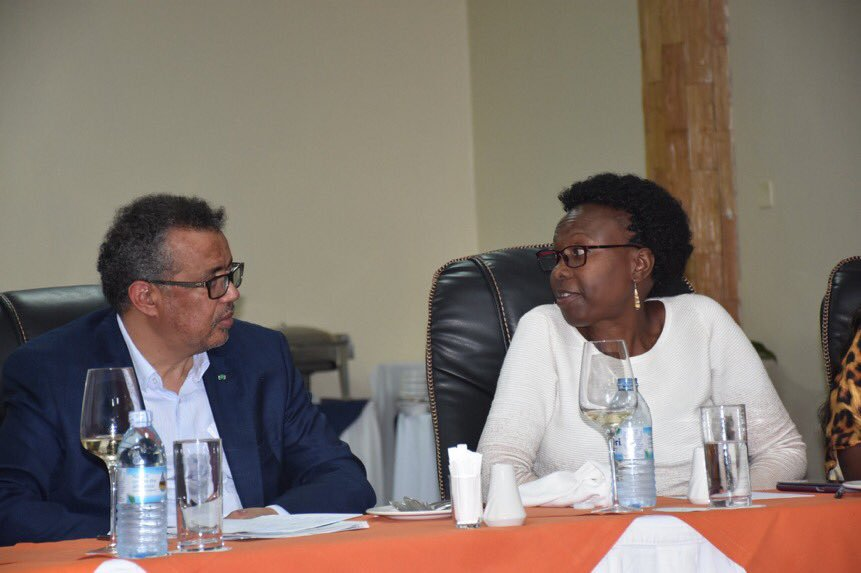 Dr. Tedros Adhanom Ghebreyesus, the Director-General World Health Organisation (2nd left), Dr. Jane Ruth Aceng  during a meeting at Protea Hotel in Entebbe on Sunday. (PHOTO/PML Daily)
