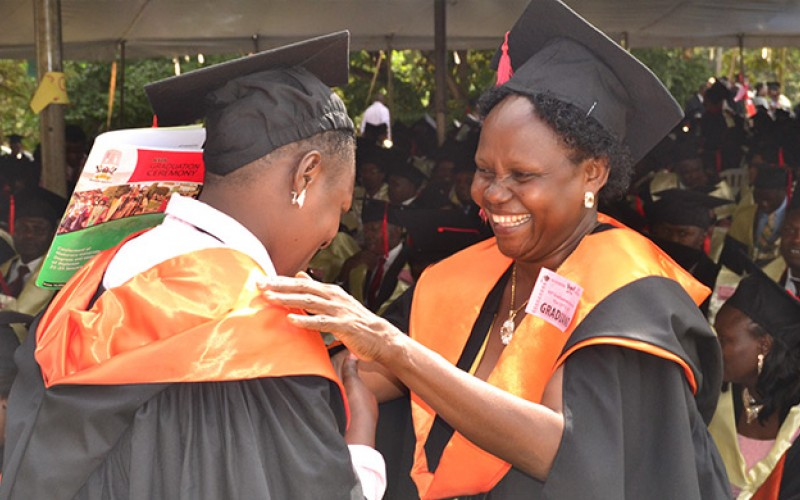 Graduands from College of Education and External Studies jubilate at the 65th Graduation. (PHOTO/Courtesy)