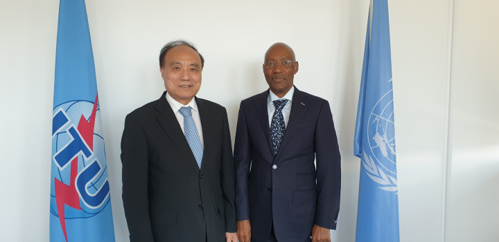 Mr Godfrey Mutabazi the UCC Executive Director and Mr Mr Houlin Zhao the ITU Secretary-General. (PHOTO/Courtesy)