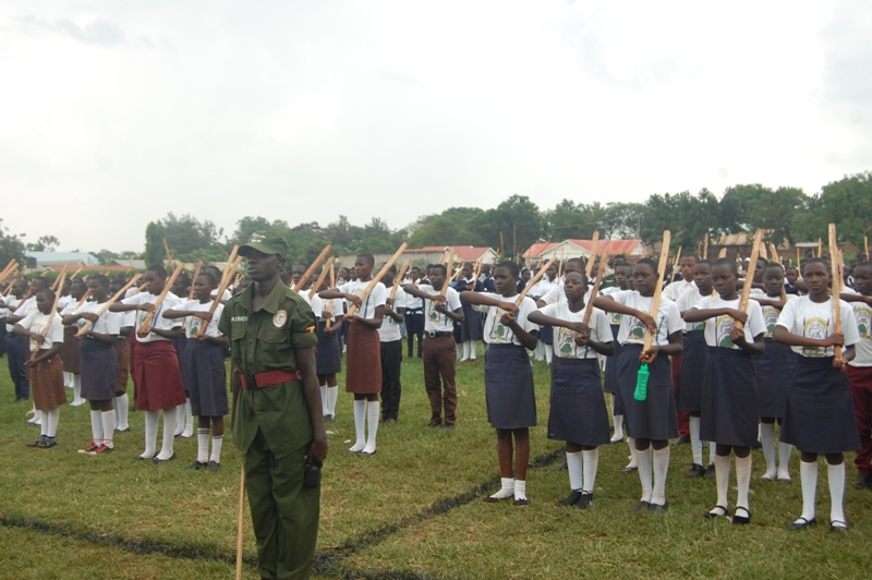Patriotism tutor cammands a parade during a passout of 1611 students patriots at King George Memorial Stadium in Tororo Municipality. Photo by Joseph Omollo