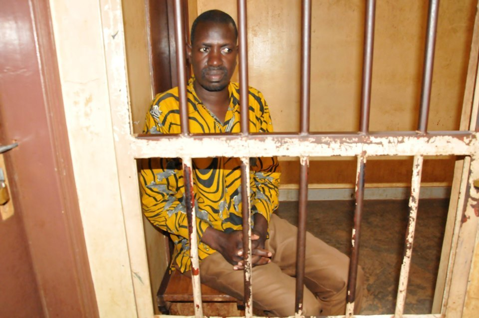 Drone Media journalist,  Mr. Pidson Kareire in cuff as he awaits trial recently. (PHOTO/Courtesy)