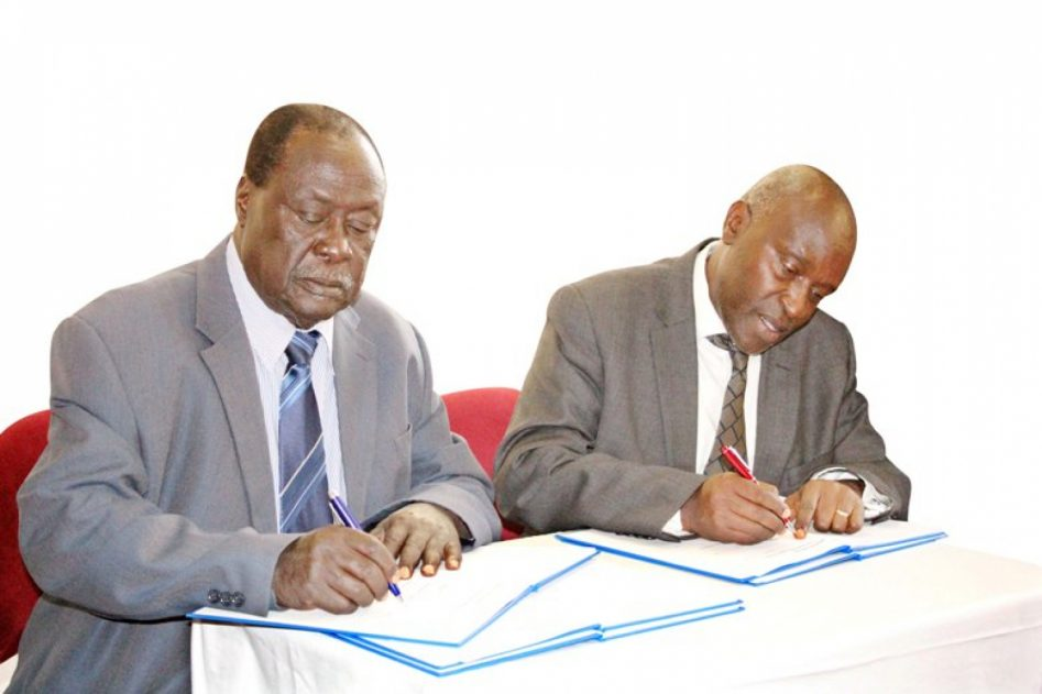 Chairman Council Prof. John Okedi on Left with Prof. Eli Katunguka Rwakishaya File Photo