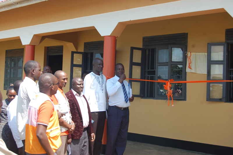 The district leaders and staff from World Vision commssion one of the constructed classroom block at Nyasirenge primary school Paya sub county. Photo by Joseph Omollo