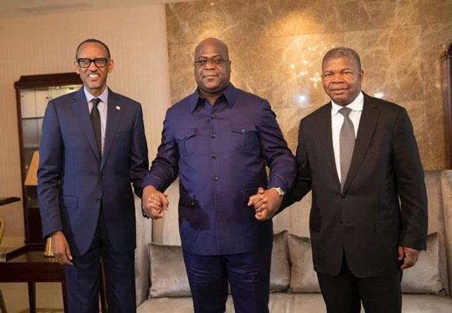 Tshisekedi (middle) with the Rwanda president Kagame and Angola's Joao Lourenco. Nairobi, Kenya