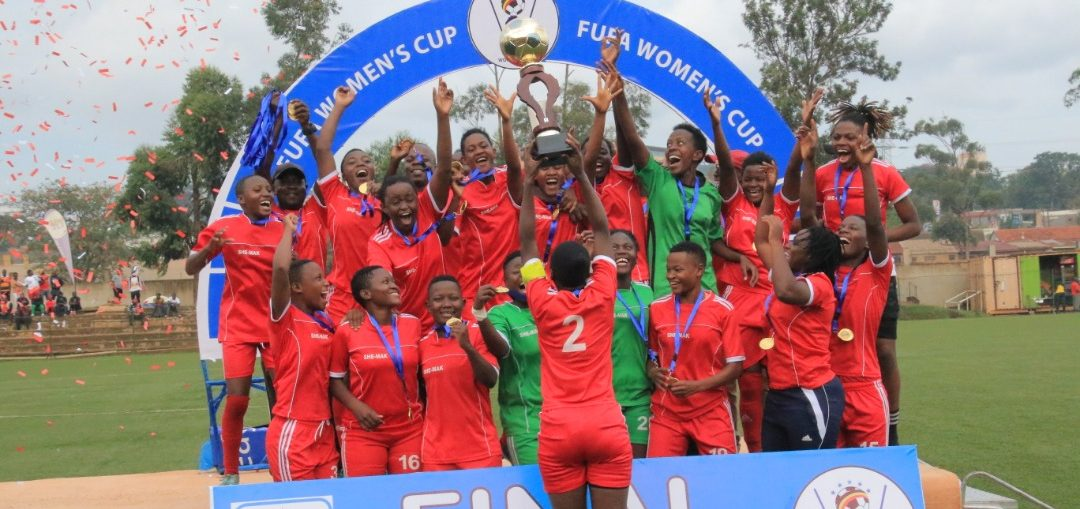 Makerere University players celebrate after winning the 2019 FUFA Women's Cup on Saturday. (PHOTOS/FUFA)