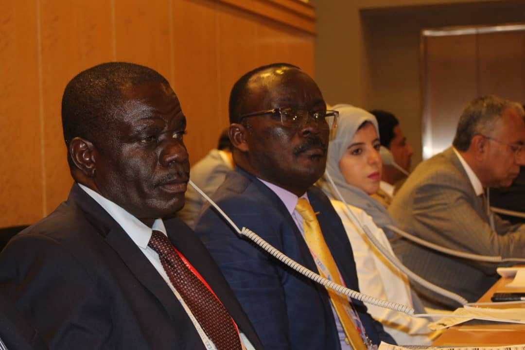 NWSC Managing Director, Eng. Dr. Silver Mugisha and Workers MP Sam Lyomoki listen in at the opening ceremony of the 108th session of the International Labour Organization Conference in Geneva, Switzerland. (PHOTO/Courtesy)