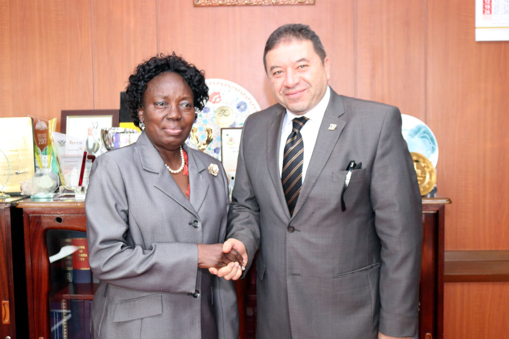 The Deputy Chief of Mission, Embassy of the Arab Republic of Egypt in Uganda, Haitham Mokhtar with Speaker of Parliament Rebecca Kadaga. (PHOTO/PML)