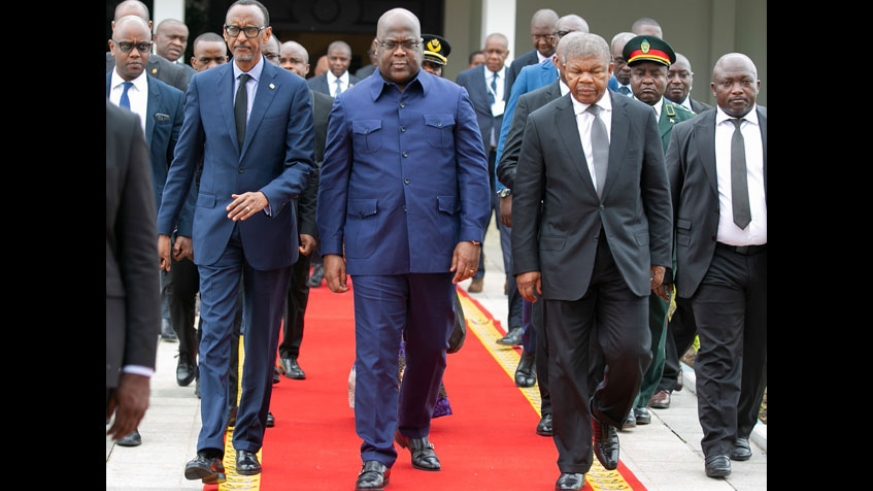 Presidents Paul Kagame of Rwanda, Félix-Antoine Tshisekedi of DR Congo and João Lourenço of Angola in Kinshasa yesterday. The three heads of state agreed to uproot all non-state armed groups threatening the security of the region. Village Urugwiro. (PHOTO/Courtesy)