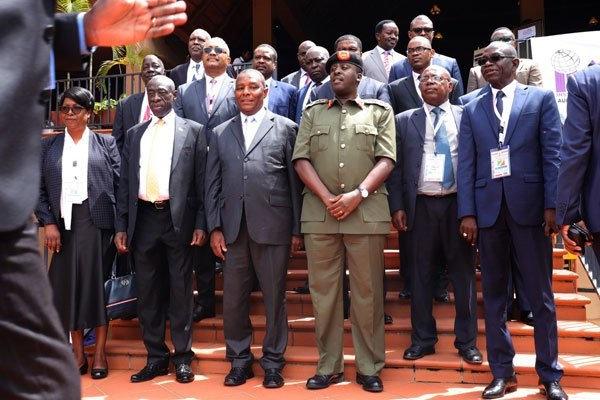 Security chiefs from the Great Lakes region after their meeting at Commonwealth Resort in Munyonyo, Kampala, in 2018. (PHOTO/File)