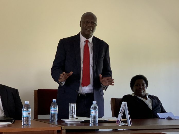Chief Justice, Bart Katureebe while visiting northern Uganda districts this week
