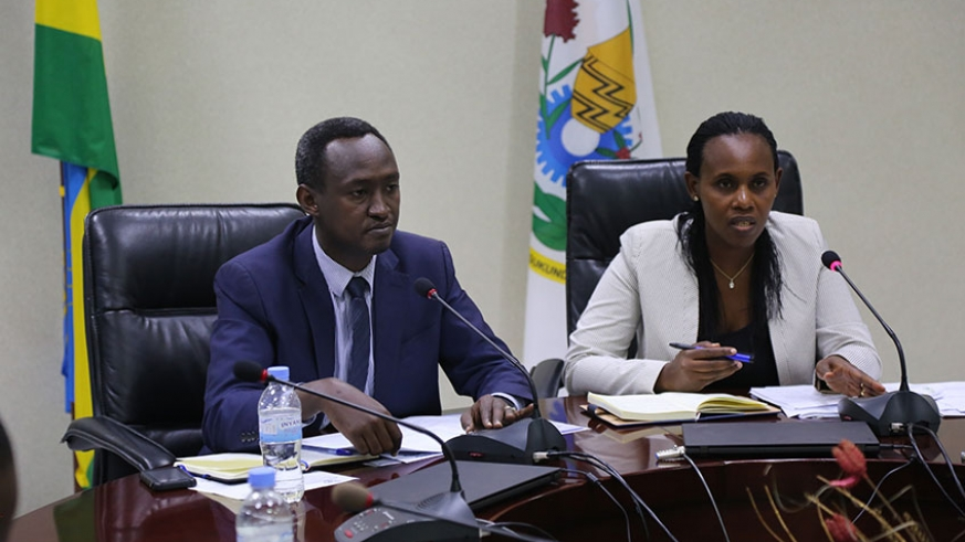 The State Minister for Economic Planning, Claudine Uwera, and deputy director-general for National Institute of Statistics, Ivan Murenzi (left), at a news briefing about the country's economic performance in the first quarter of 2019 during which the GPD grew by 8.4 per cent, at the Ministry of Finance and Economic Planning headquarters in Kigali. (PHOTO/Courtesy)