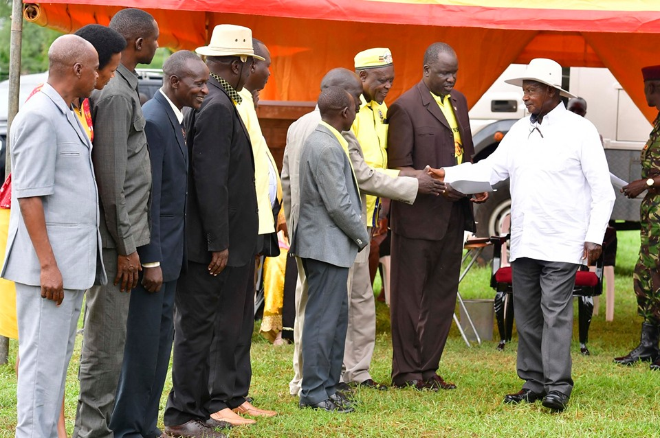 President Museveni welcomed by Karamoja leaders in Moroto district on Tuesday. (PPU PHOTO)
