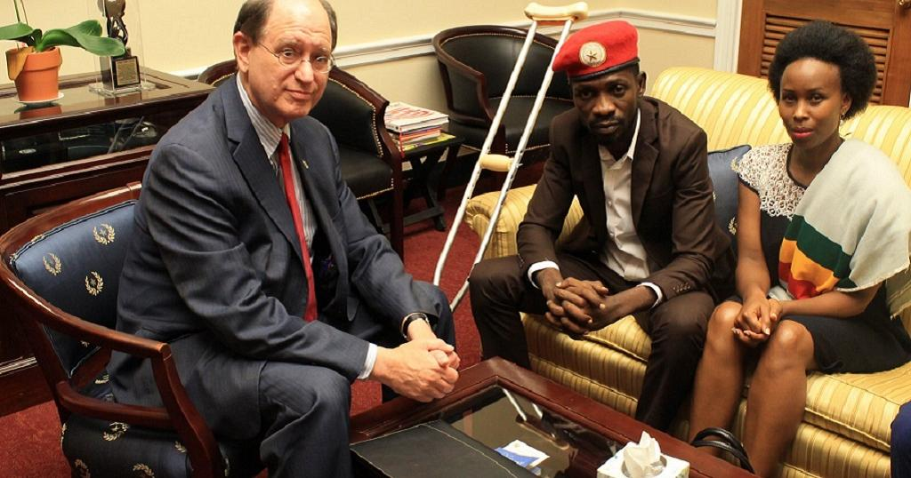 Uganda's vocal legislator Robert Kyagulanyi popularly known as Bobi Wine met a United States congressman, Bradley Sherman on Friday,