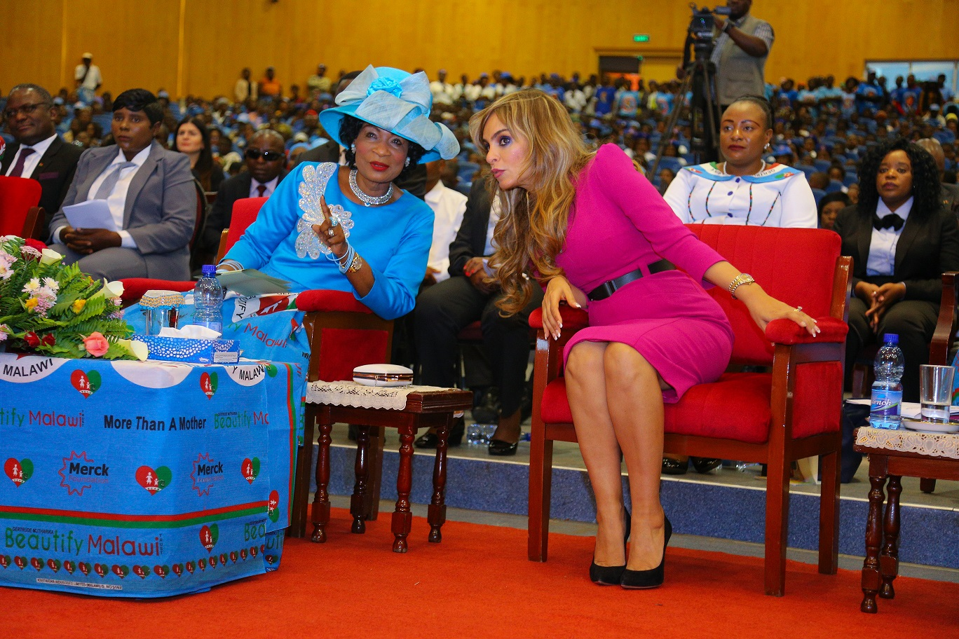 Dr. Rasha Kelej, CEO of Merck Foundation and President, Merck More than A Mother with H.E. PROF. GERTRUDE MUTHARIKA, The First Lady of Malawi and Ambassador of Merck More Than a Mother during the launch of Merck Foundation programs in Malawi (1)