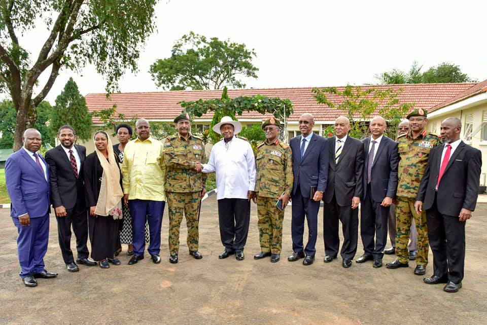 President Yoweri Museveni and Gen. Abdel Fattah Al-Burhan, the head of Sudan Transitional Military Council at the Mbale State Lodge on Friday.