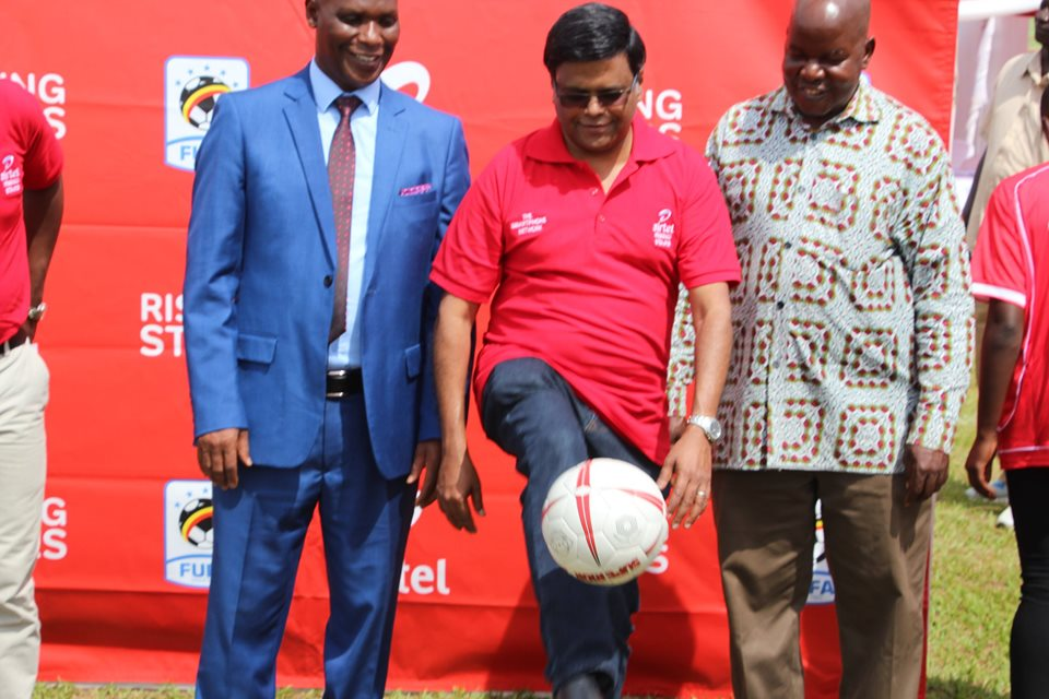 V.G Somasekhar, the Managing Director, Indrajeet Kumar, the Marketing Director, and Hajji Zubairi Galiwango, the Guest of Honor showcase their skills and love for football shortly after the official launch