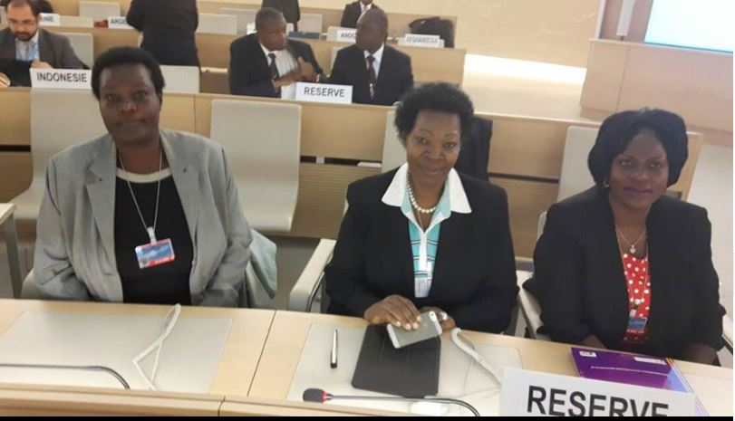 (Right - left) Ms. Sylvia Muwebwa Ntambi – Chairperson Equal Opportunities Commission, Hon. Jovia Kamateka – Woman MP of Mitooma district and Hon. Bitekyero – MP of Kabiramaido listening to different questions on human rights and equal opportunities at the Human Rights Council.