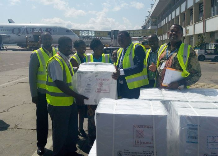 team  led by the Director Curative Services, Dr Charles Olaro has today received a last batch of the 20million  measles-Rubella vaccines at Entebbe Airport